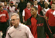 Terrelle Pryor and Coach Jim Tressel at recent OSU basketball game February 25, 2008